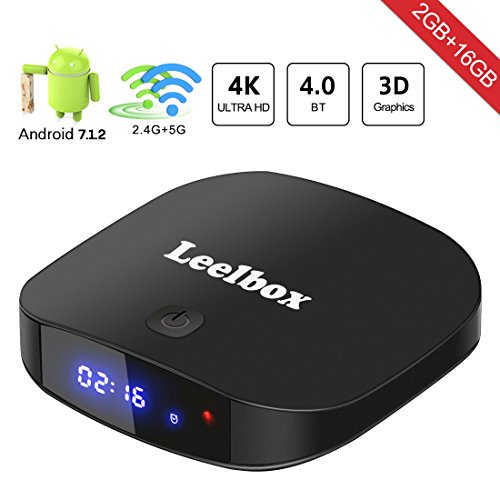 [2018 Neueste Version] Leelbox TV Box Q2 PRO Android 7.1 Vier Kern 2GB RAM+16GB ROM/Dual-WLAN/Volles HD/BT4.0/4K H.265 Android Box