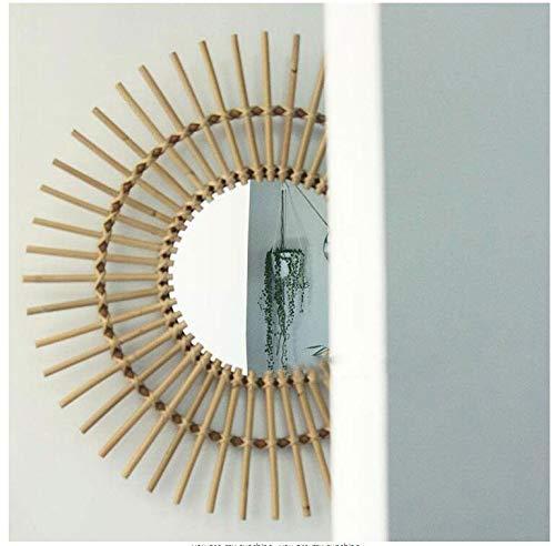 Nordic Italiano hogar hecho mano bambú espejo ratán