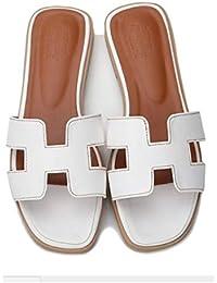 3eb45a29d95 GirlFriendMaterial Women Flat Casual Shoes Flip Flog H Sliders Ladies  Summer Sandals Flip On Slides PU
