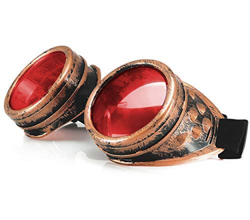 WELDING CYBER GOGGLES Schutzbrille Schweißen Goth cosplay STEAMPUNK COSPLAY GOTH ANTIQUE VICTORIAN WITH SPIKES Includes FREE set Lense Shades UV400 Protection Morefaz(TM) (Gold)