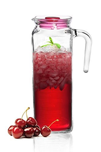 Glaskrug 1,2L mit Deckel Wasserkrug Saftkaraffe Karaffe Krug Saftkrug Glas
