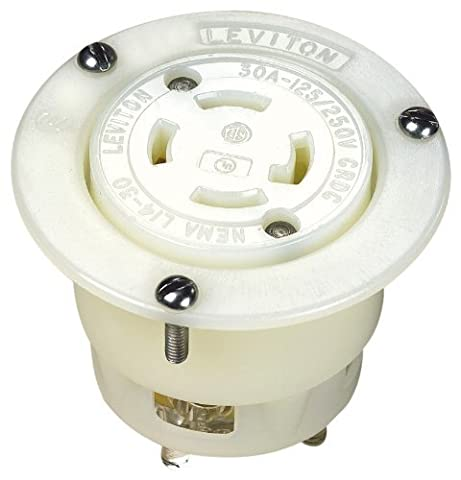 Leviton 2716 30-Amp, 125/250 Volt, Flanged Outlet Locking Receptacle, Industrial Grade, Grounding, White by