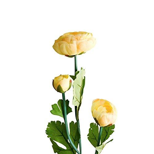 Jia HU Lot de 1 tête de fleurs artificielles Pivoine de 3 Pivoine arrangements plantes d'intérieur Décoration extérieure Orange