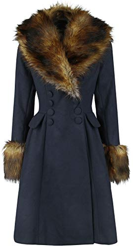 Hell Bunny Roxy Coat Wintermantel blau/braun XXL