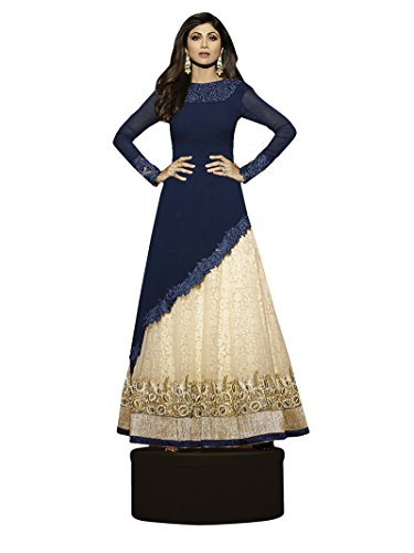 VH Fashion Shilpa Shetty Blue and cream Long Anarkali Self Embroidered Long Gown Style Anarkali Suit  available at amazon for Rs.1236