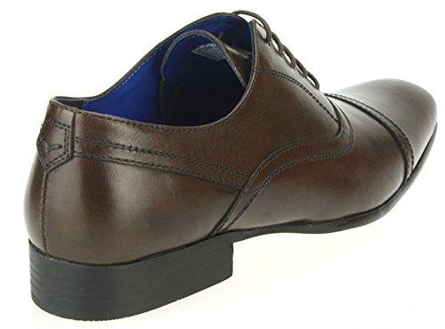 Ruban Rouge d'amande douce Noir ou Marron en Cuir pour Homme Rond Dentelle qualité formelle Chaussures Marron