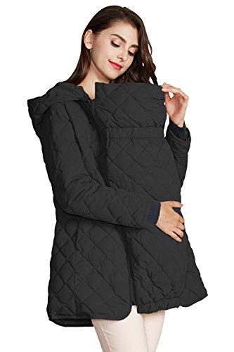 CJ6094 Doudoune de portage légère maman enfant avec insert Black