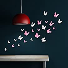 rimovibile Autoadesivo Adesivi da parete 3D Farfalle arte murale decalcomania vinile DECORAZIONE CASA fai-da-te VIVENTE camera letto carta parati cameretta bimbi regalo 120x100 cm, Rosa/Bianco