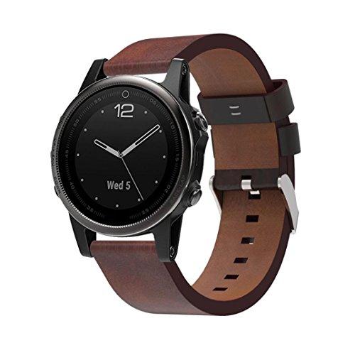 Für Garmin Armband Clode® Luxus Lederband Ersatz Uhrenarmband mit Werkzeugen für Garmin Fenix 5S (Braun) (Kids Ersatz-uhrenarmband)