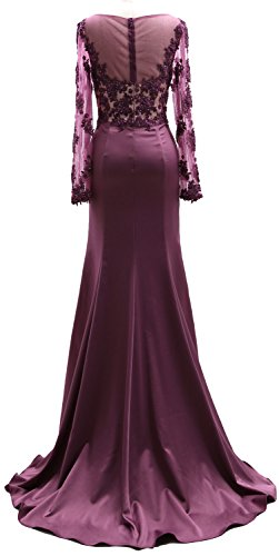 MACloth Long Sleeves Illusion Lace Mother of the Bride Dress Formal Evening Gown Blush Pink