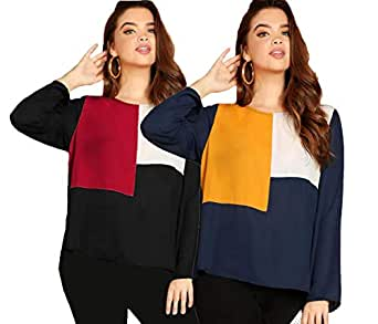 JUNEBERRY 100% Cotton Multicolor Round Neck Full Sleeve T-Shirt for Women/Girls-Multicolor (Pack of 2)
