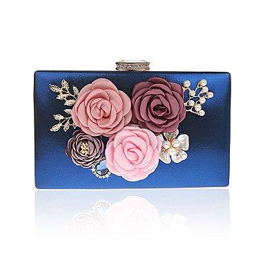 Fashion Women's cute Blumen Perle Abendessen Tasche Blue
