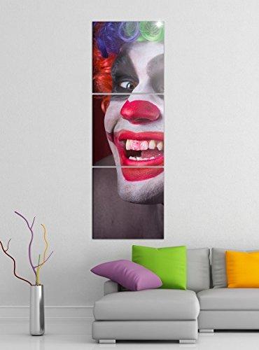 Leinwandbild 3tlg Horror Clown Maske gruselig Gesicht Bilder Druck auf Leinwand Vertikal Bild Kunstdruck mehrteilig Holz 9YA4104, Vertikal Größe:Gesamt 40x120cm (Clown Gesichter Gruselig)
