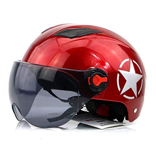WCTK Banhu Helm Motorradhelm, Sportstadt Voll Motorrad Fahrrad, Stoßfest Und Atmungsaktiv, Mit Schutzbrille (Color : Red)
