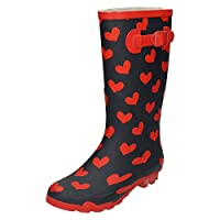 Spot On Womens Heart Print Wellington Boots - Navy/Red Rubber - UK Size 8 - EU Size 41 - US Size 10