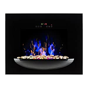 Klarstein Fire Bowl Wall-Mounted Fireplace 1800W Realistic Flames Decorative Stones
