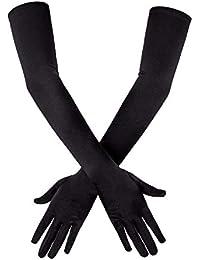 SAVITA Abendhandschuhe Satin Handschuhe Lang Opernhandschuhe Tanzhandschuhe 1920 Handschuhe für Frauen Mädchen