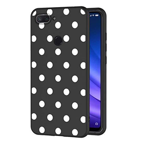 ZhuoFan Funda Xiaomi Mi 8 Lite Cárcasa Silicona Ultrafina Negra con Dibujos Diseño Suave TPU Gel Antigolpes de Protector Piel Case Cover Bumper Fundas para Movil Xiao Mi 8Lite 2019, Lunares Blanc