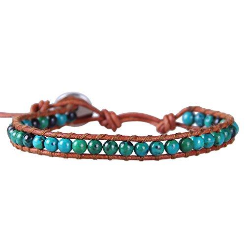 KELITCH Birthstone Semi-précieuses Gemme Perles Cuir Bracelet Bijoux Bleu Turquoise