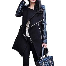 Gabardina Mujer Primavera Otoño Largas Chaquetas Fashion Mode De Marca  Vintage Parkas Splice Casual Cuero Sintético 5689757e143f