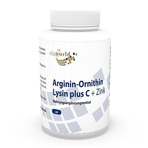 Vita World Arginin-Ornithin-Lysin Plus C + Zink 60 Kapseln Apotheken Herstellung