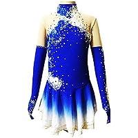 New Vestito da Pattinaggio Artistico per Donna da Ragazza Completo da Pattinaggio sul Ghiaccio Indossabile Traspirante Fatto a Mano Manica W/&G