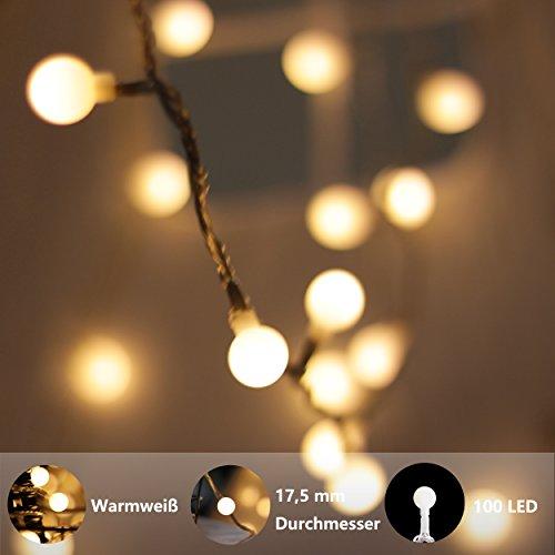 prezzo Catena Luminosa, di myCozyLite®, Luci Natalizie da Esterno ed Interno, Globo Bianco Caldo, 15M, Luci Stringa Impermeabili Decorative con 100 LED, Trasformatore a Bassa Tensione DC 31V, Espandibile