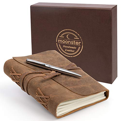 LEDER NOTIZ-TAGEBUCH GESCHENKSET Handgefertigtes Schreibheft 18x13cm unliniert, Vintage Ledernotizbuch für Männer und Frauen, tolles Geschenk mit Box, Stifthalterung und Luxus Kugelschreiber