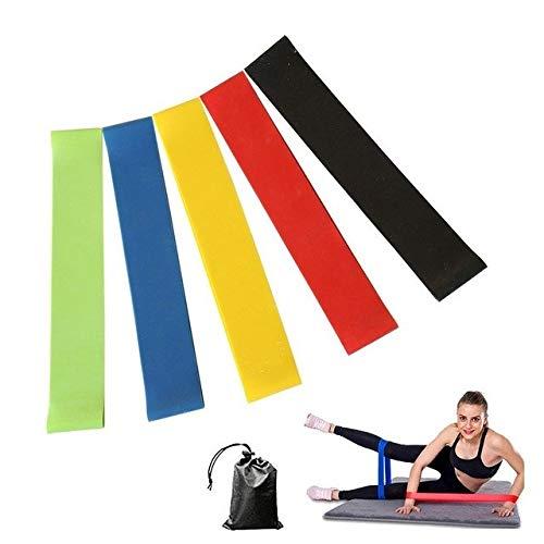 Sports elastiche fitness banda elastica, fasce elastiche di resistenza, set da 5 fasce resistenza bande fitness, yoga, pilates o per riabilitazione dopo un infortunio, adatte a uomini e donne