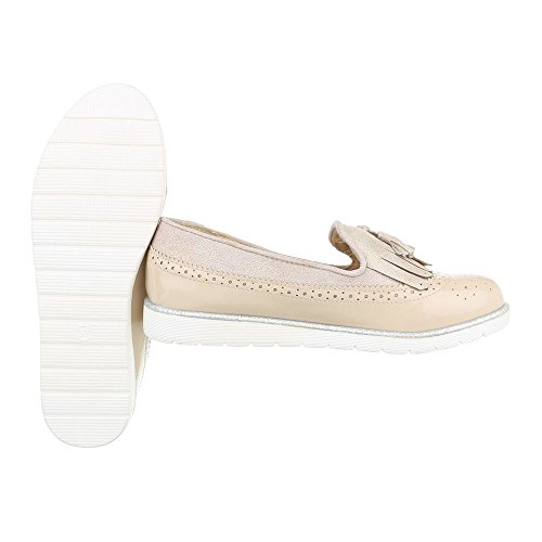 Slipper Damenschuhe Low-Top Slipper Ital-Design Halbschuhe Beige