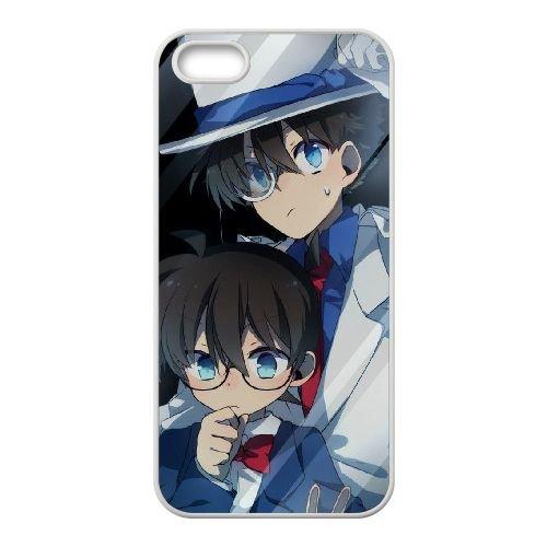Detective Conan coque iPhone 5 5S Housse Blanc téléphone portable couverture de cas coque EBDXJKNBO09862