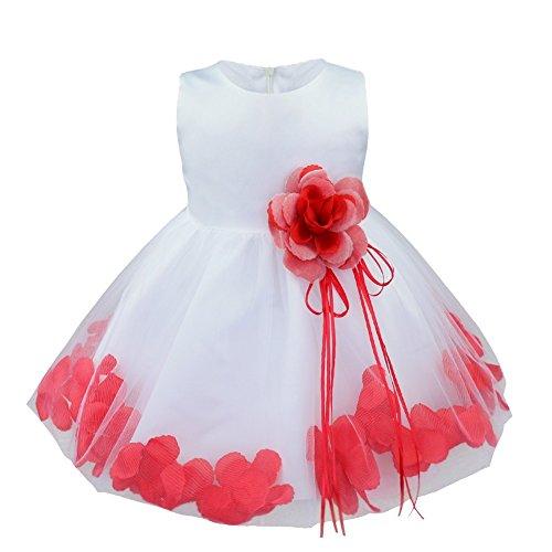 iiniim Süßes Baby Mädchen Kleid Festlich Kleid Blumenmädchenkleider Taufkleid Hochzeit Abendkleid Partykleid Weiß + Rot 86/12-18 Monate