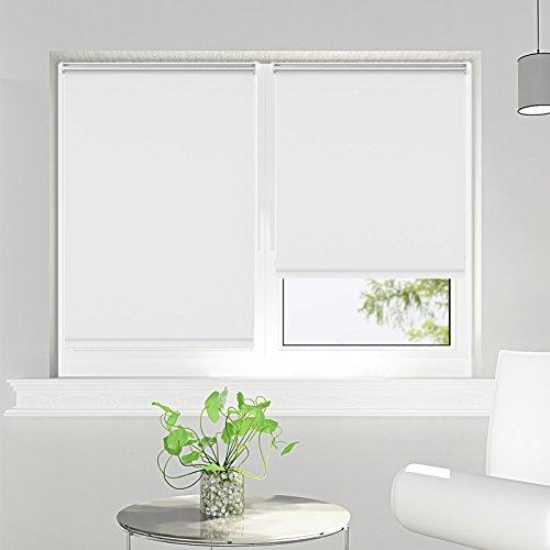 Estor enrollable opaco termico estores para ventanas sin taladrar blanco 75 x 170 cm