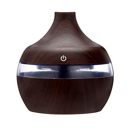 Ultraschall-Nachtlicht-Nebel-Befeuchter Aromatherapie-Maschine Dunkler Holzmaserung Vase Luftbefeuchter Ultraschall Aromatherapie ätherisches Öl Diffusor Startseite Luftreiniger Sprayer (Vase Diffusor)