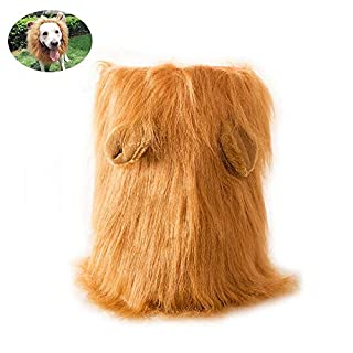 Auoker Dog Lion Mane, Realistic Dog Lion Costume with Adjustable Strap, Soft Plush and Comfortable Liner, Easy to Comb Lion Mane for Dog, Universal Size - Yellow