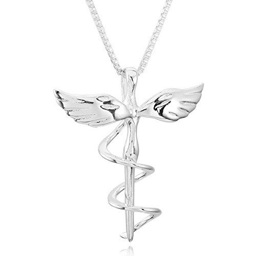 Inblue 925�Sterling Silber Damen Anh�nger Halskette Silber Ton Engel Fl�gel Kreuz���mit 45,7�cm Sterling Silber - Designer Kostüm Schmuck Verkauf