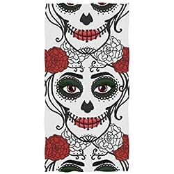 Wamika Santa Muerte Calavera - Toalla de Mano (algodón, 76 x 38 cm), diseño de Calavera, Color Rojo