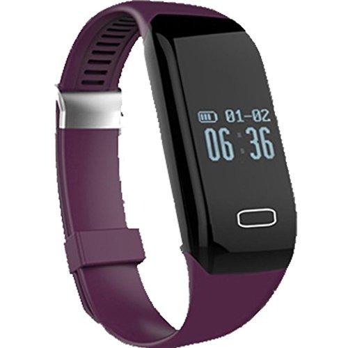 C 'est Bluetooth-Smart-Watch Fitness-Tracker mit Armband Schrittzähler Herzfrequenz-Monitor für Android iOS Smartphone, wasserdicht M violett (Microsoft-übung Band)