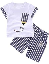 Conjuntos de ropa, Dragon868 2018 niños recién nacidos de verano bebé rayado lápiz camiseta y pantalones cortos ropa conjunto