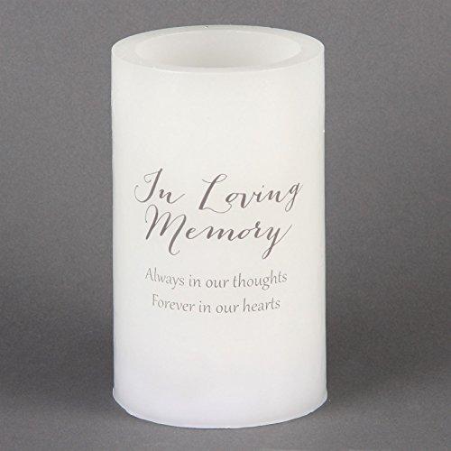 Memorial vela In Loving Memory siempre en nuestros pensamientos para siempre en nuestros pensamientos LED Cera Acabado Memorial vela