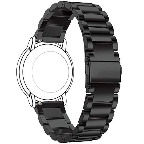 Ruentech 22 mm Edelstahl-Armband für Huawei Watch GT/Honor Magic Sport Smartwatch Armband für Damen und Herren, Schwarz