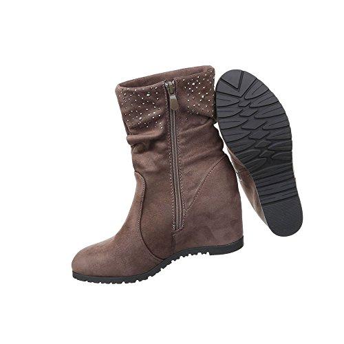 Damen Schuhe Stiefel Keil Boots Mit Strass Braun Grau