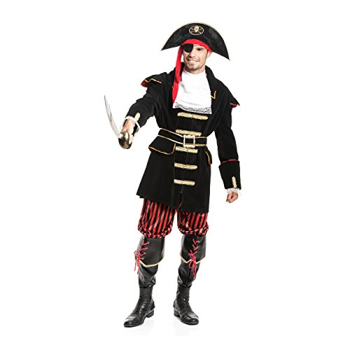 Kostümplanet® Piraten-Kostüm Herren Pirat Deluxe mit + Stiefel-Stulpen 6-tlg. Komplettes Kostüm Größe (Herren Kostüme Deluxe)