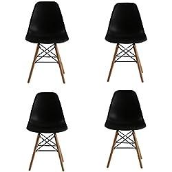 KunstDesign Ensemble de 4 chaises de Salle à Manger, Design Ergonomique, Pieds en Bois de hêtre Naturel, Look Moderne du Milieu du siècle.(Noir)