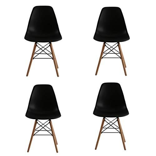 KunstDesign Ensemble de 4 chaises de Style Eames, Design Ergonomique, Pieds en Bois de hêtre Naturel, Look Moderne du Milieu du siècle.(Eames-Noir)