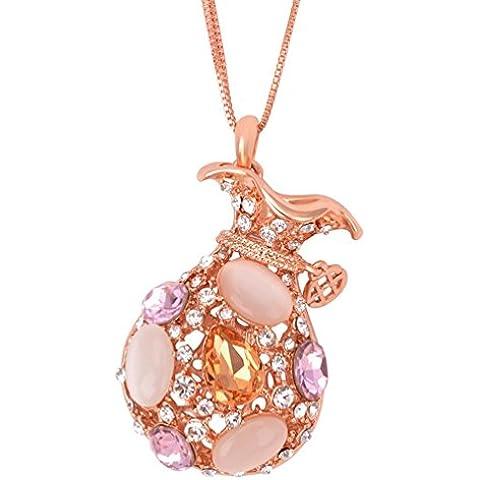 La noche estrellada brillante Lucky bolsa Dazzing Opal 42Deluxe diamantes corte de cristal acentuado con 18K chapado en oro collar