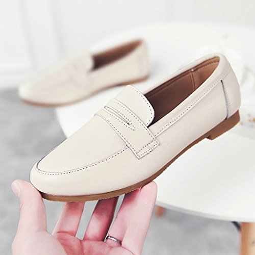 HWF Chaussures femme Printemps Shallow Mouth Chaussures simples style britannique à fond plat paresseux Chaussures Femmes Chaussures en cuir ( Couleur : C , taille : 40 ) B