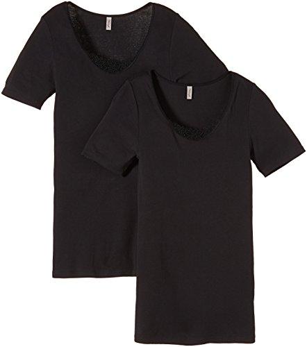 Triumph Damen Unterhemd Yselle Basics Shirt03 2P Schwarz (Black 04)
