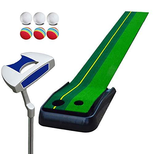 DONG Haus Golf Putting Matten - Praxis Verbessern Putt Striche Golfübungsgeräte Zuhause,2.5meterswithouttrack+Putter