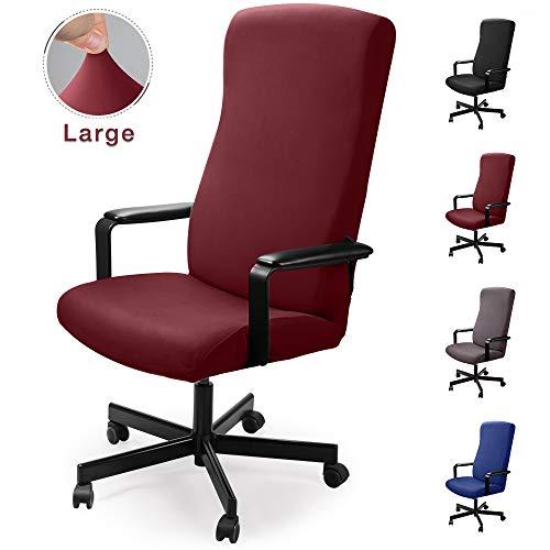 Bürostuhl bezug Bürostuhlabdeckung Stuhlhussen Drehstuhl Bezug Moderne Stuhl Überzug Sessel Cover Elastische Waschbar Stuhlhussen Set für die Bürostuhl Computer Schreibtischstuhl (Weinrot, L)